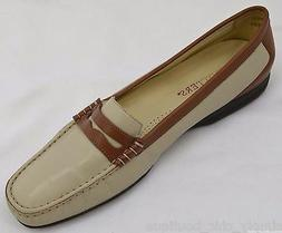 2 tone leather moccasins slides penny loafers