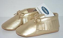 OLD NAVY BABY GIRLS MOCCASIN SANDALS DRESS SHOES BOX GOLD SH