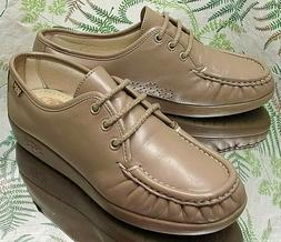 SAS BEIGE LEATHER OXFORDS LACED COMFORT WALKING SHOES MOCCAS
