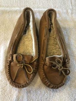 MINNETONKA Brown Faux Fur Lined Moccasins Size 9 Good Preown