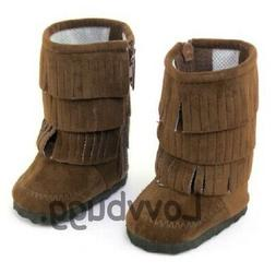 Brown Fringe Boots Cowgirl Moccasins for American Girl 18 in