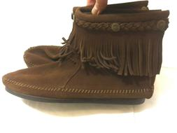 MINNETONKA Brown Suede Leather Fringe Women's Ankle Boots Mo