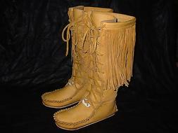 Buffalo Men's 10 Gold Knee High Moccasins indian Leather Bis