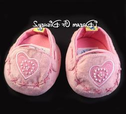 Build-A-Bear PINK SUEDE-LOOK LOAFERS MOCCASINS BEADS HEART T