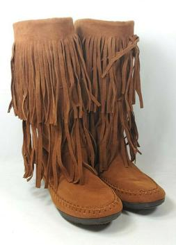 """Rampage """"Capello"""" Moccasin Boots Women's Sz 8.5 Brown Faux S"""
