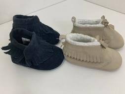 Carter's Child of Mine Baby Girl Tan Moccasins and Navy Blue