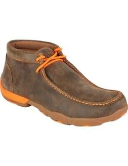 Twisted X Casual Shoes Mens Leather Driving Moc Brown Orange