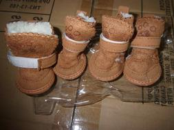 DOG Boots SIZE 3 lined WINTER BOOTS SET SHOES MOCCASINS Brow