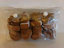 ACL Faux Leather Dog Pet Booties Moccasin Style Set Of 4 New