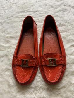 Tory Burch Kendrick Red Orange Driving Moccasins Size 7.5