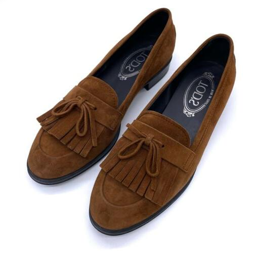 tods brown suede kiltie gommino driving loafers