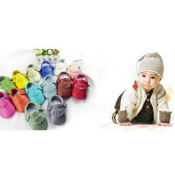 Leather Baby Moccasins with Tassels for Infant Toddler Boys