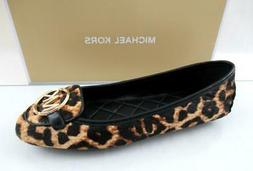 Michael Kors Lillie Moccasin Flat Shoes Printed Hair Calf Le
