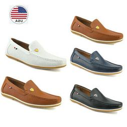 Bruno Marc Men Flat Leather Slip On Casual Driving Loafers M