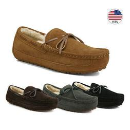 Men's Sheepskin insole Moccasin Toe Suede leather Slippers S