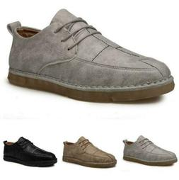 Mens Flat Driving Moccasins Boards Loafers Lace Up Casual Le