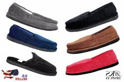Mens House Shoes Slippers Moccasin Slip-on Corduroy Black Br