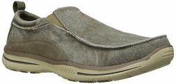 Skechers Mens Relaxed Fit Fabric Round Toe Moccasins, Taupe,