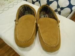 Clarks Moccasin Slippers Brown Leather Flannel Men Shoes Siz
