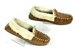 MINNETONKA MOCCASINS Faux Fur Lined Tan Brown Suede Slippers