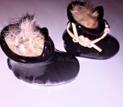 Native American Glass Moccasins, filled with rabbit fur for