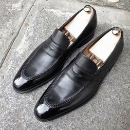 New Handmade Men's Black Penny Loafer Real Leather Moccasin