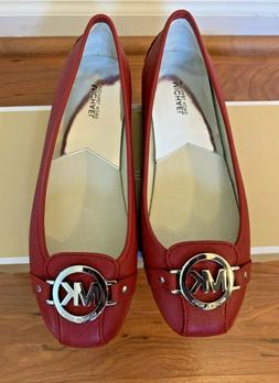 New Michael Kors Womens Red Leather Fulton Flat Moccasins Si