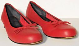 Ros Hommerson Red Leather Ballet Flats Bow Tie Slip On Shoes