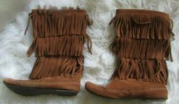 LC Lauren Conrad Suede Leather Brown Moccasin Fringe Boots S
