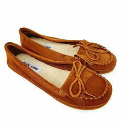 Minnetonka Suede Slippers House Shoes Moccasins Brown Women