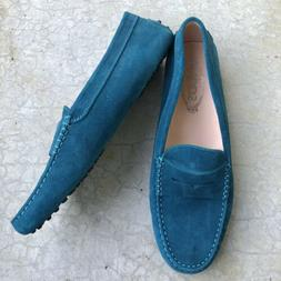 Tod's Women's Loafers Gommini Suede Driving Moccasins Turquo