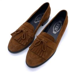 TOD'S Brown Suede Kiltie Gommino Driving Loafers Moccasins