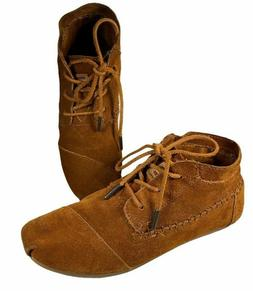 Toms Sz 8 Women's Brown Suede  Moccasin Ankle Boots Booties
