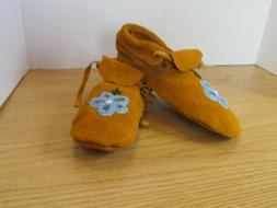 TRADITIONAL NATIVE AMERICAN MOCCASINS,HAND MADE LEATHER BEAD