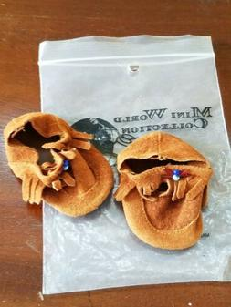 *Vintage Suede Leather Beaded doll Moccasins old store stock