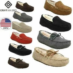 DREAM PAIRS Women's Moccasin Slippers Suede Sheepskin Faux F