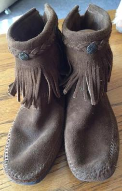 Minnetonka Women's Brown Suede Fringe Ankle Boots Moccasins