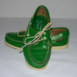 Quoddy Women's Green Leather Moccasins Boat Shoe Size 9 B