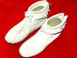 Women's Ivory Suede Leather Zip Fringe Ankle Moccasins Boots