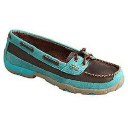 Twisted X Women's Turquoise / Brown Size 5.5 Driving Moccasi