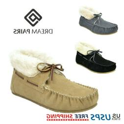 DREAM PAIRS Women Suede Sheepskin Fur Moccasins Slippers Out
