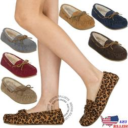 Women's Moccasin Slippers Suede Fur Lined House Shoes Slip